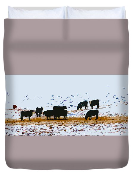 Cattle And Birds Duvet Cover