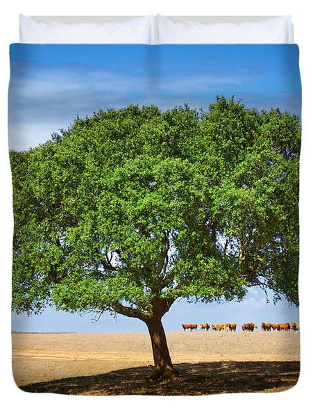 Cattle And Tree Duvet Cover