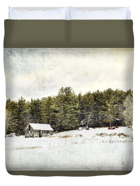 Cattle At The Feeder - Textured Duvet Cover