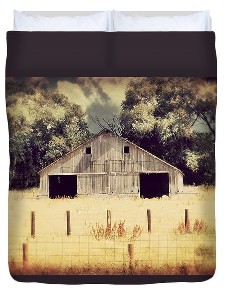 Duvet Cover featuring the photograph Hwy 3 Barn by Julie Hamilton