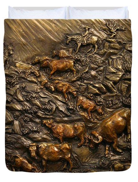 Cattle Drive Duvet Cover by Dawn Senior-Trask