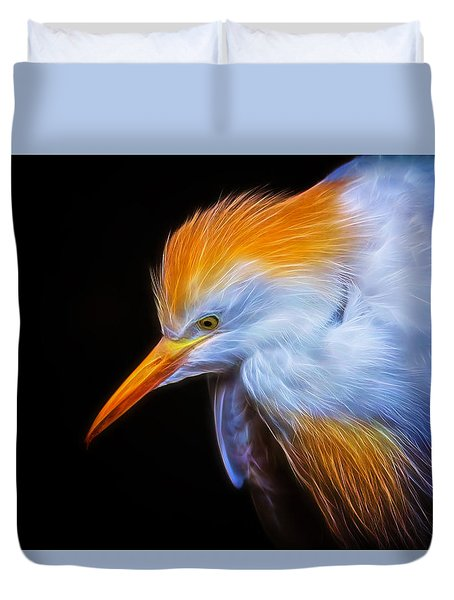 Cattle Egret Electrified Duvet Cover by David Gn