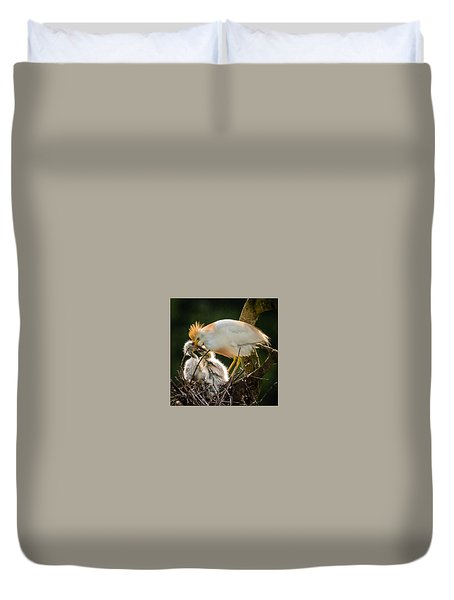Cattle Egret Feeding Babies Duvet Cover