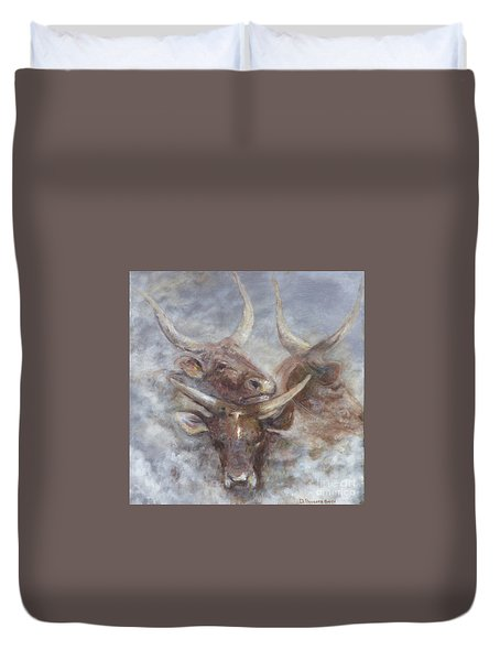 Cattle In The Mist Duvet Cover