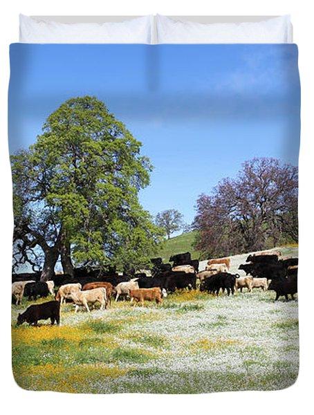 Cattle N Flowers Duvet Cover