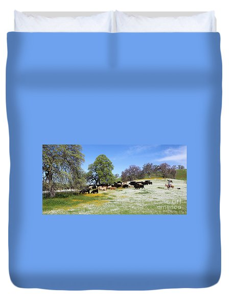 Cattle N Flowers Duvet Cover