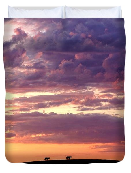 Cattle Ridge Sunset Duvet Cover