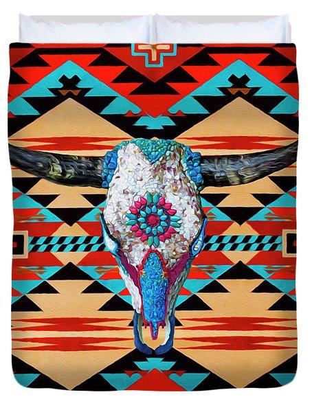 Cattle Skull Art Duvet Cover