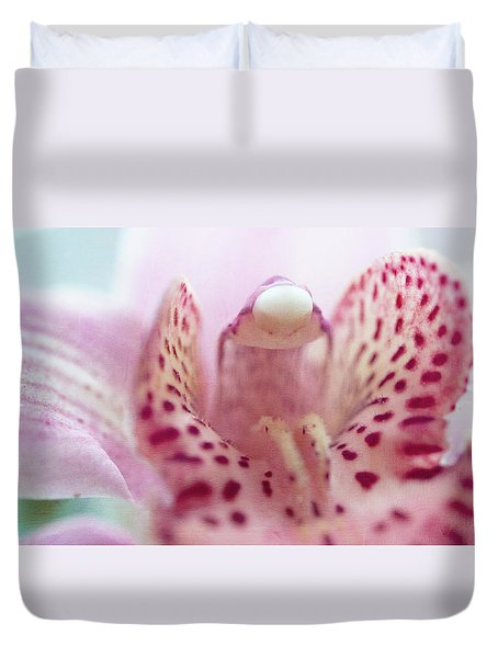 Duvet Cover featuring the photograph Cattleya Orchid Abstract 3 by Jenny Rainbow