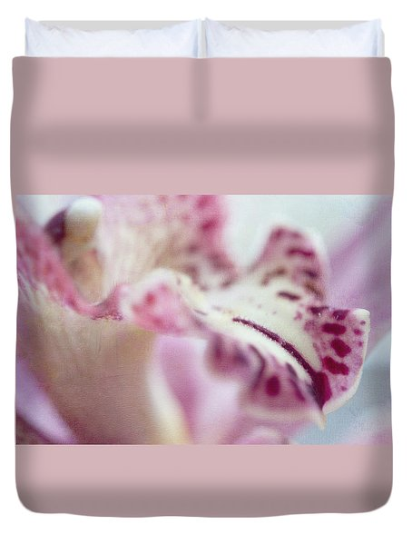 Duvet Cover featuring the photograph Cattleya Orchid Abstract 4 by Jenny Rainbow