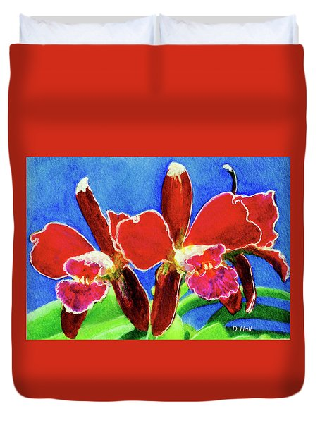 Cattleya Orchids Flowers #215 Duvet Cover by Donald k Hall