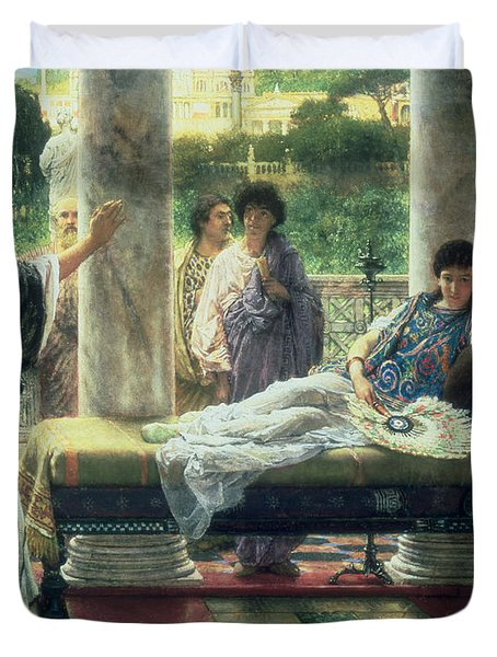 Catullus Reading His Poems Duvet Cover by Sir Lawrence Alma Tadema