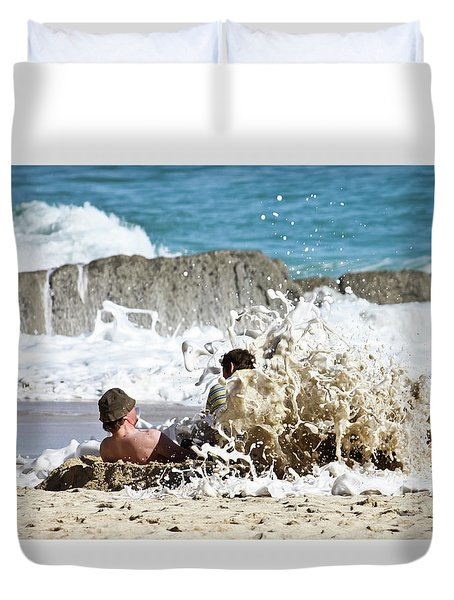 Duvet Cover featuring the photograph Caught From Behind by Terri Waters