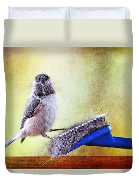 Duvet Cover featuring the photograph Caught In The Act by Trina  Ansel
