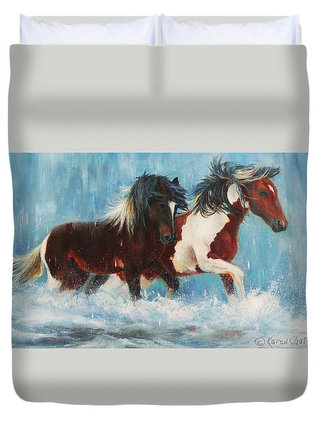 Duvet Cover featuring the painting Caught In The Rain  Close Up by Karen Kennedy Chatham