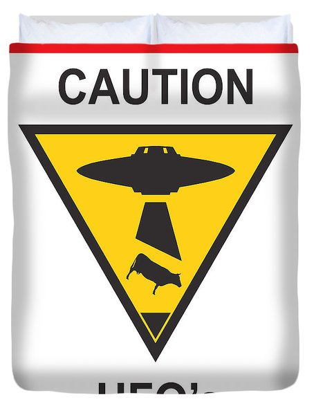 Caution Ufos Duvet Cover by Pixel Chimp