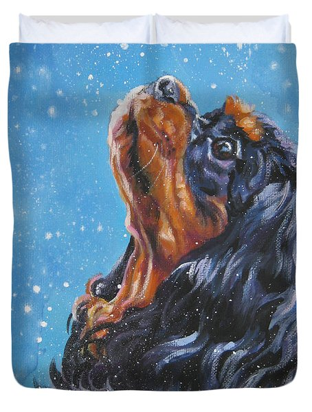 Cavalier King Charles Spaniel Black And Tan In Snow Duvet Cover