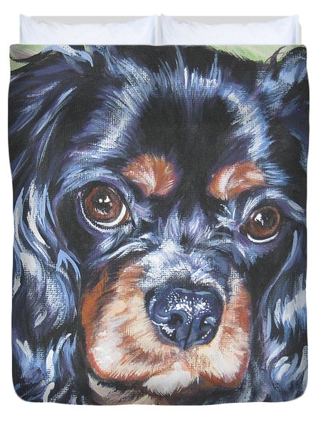 Cavalier King Charles Spaniel Black And Tan Duvet Cover