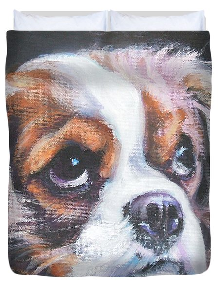 Cavalier King Charles Spaniel Blenheim Duvet Cover by Lee Ann Shepard
