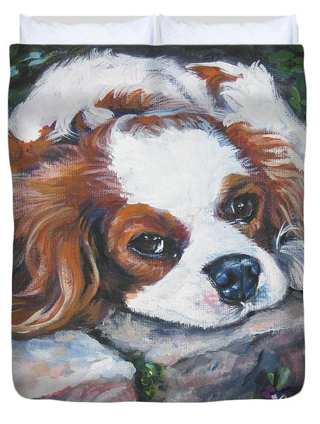 Cavalier King Charles Spaniel In The Pansies  Duvet Cover