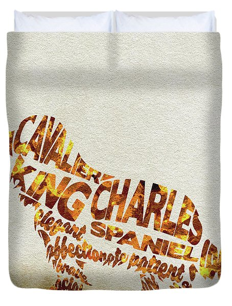 Cavalier King Charles Spaniel Watercolor Painting / Typographic Art Duvet Cover