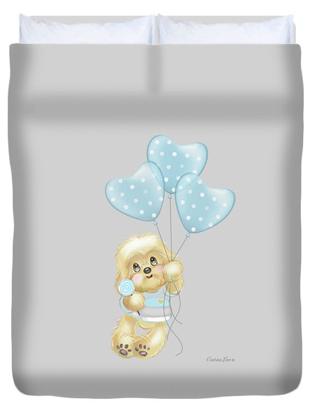 Duvet Cover featuring the painting Cavapoo Toby Baby by Catia Lee