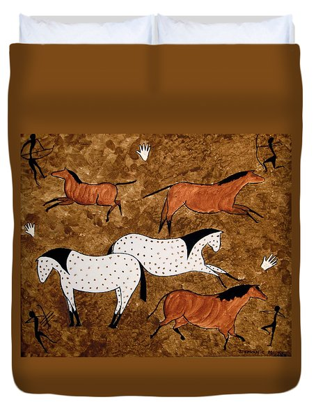 Cave Horses Duvet Cover by Stephanie Moore