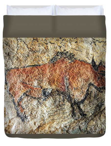 Cave Painting In Prehistoric Style Duvet Cover by Michal Boubin