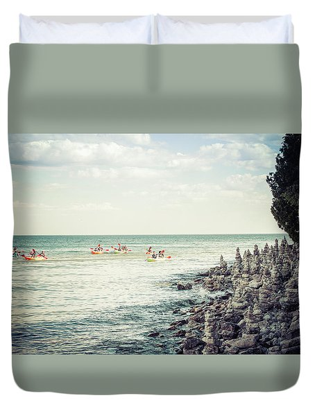 Duvet Cover featuring the photograph Cave Point Rock Formations by Joel Witmeyer