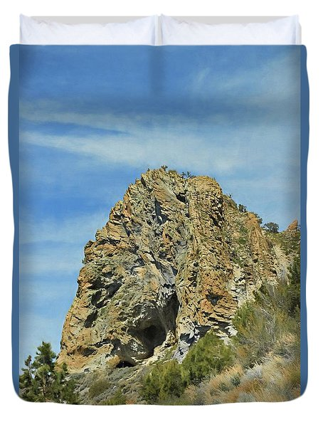 Duvet Cover featuring the photograph Cave Rock At Tahoe by Benanne Stiens