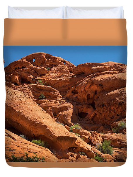 Caves And Hollows Valley Of Fire Duvet Cover by Frank Wilson