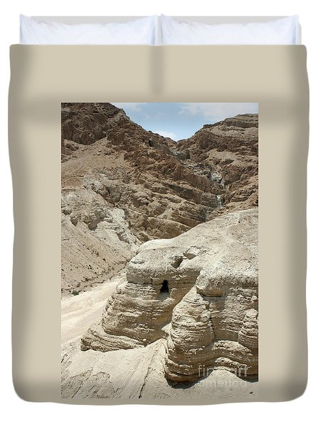 Duvet Cover featuring the photograph Caves Of The Dead Sea Scrolls by Steven Frame