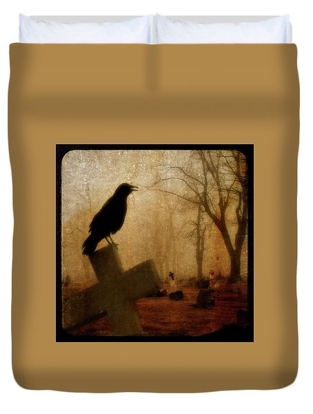 Cawing Night Crow Duvet Cover