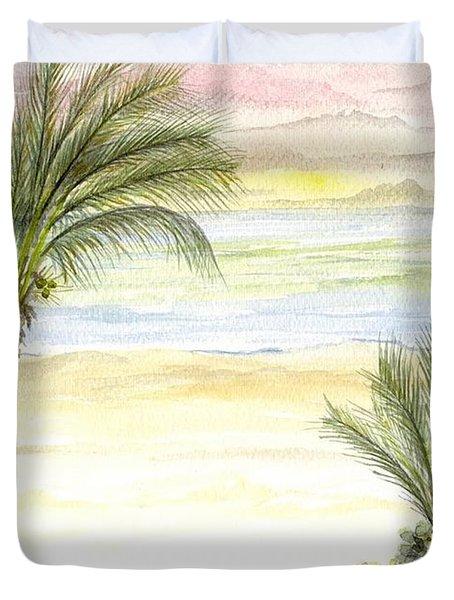 Duvet Cover featuring the digital art Cayman Beach by Darren Cannell