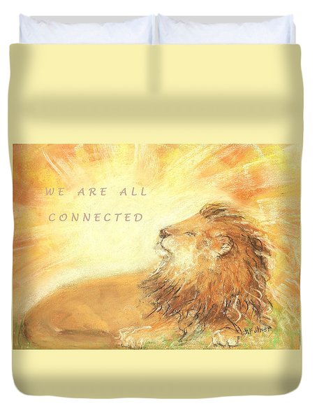 Duvet Cover featuring the drawing Cecil The Lion by Denise Fulmer