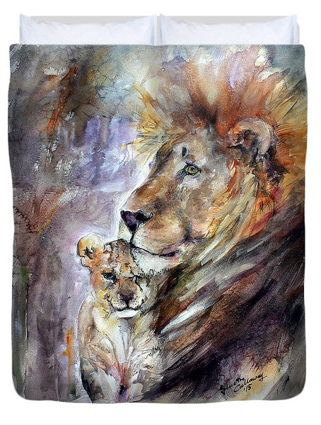Duvet Cover featuring the painting Cecil The Patriarch No More by Ginette Callaway
