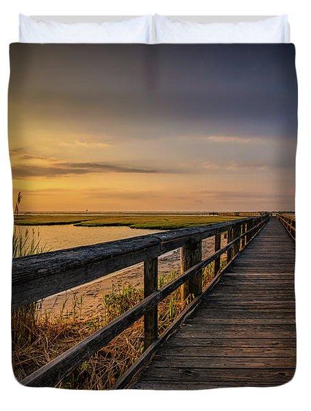 Cedar Beach Pier, Long Island New York Duvet Cover
