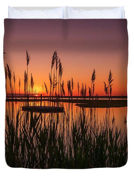 Cedar Beach Sunset In The Reeds Duvet Cover