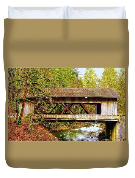 Cedar Creek Grist Mill Covered Bridge Duvet Cover by Steve Warnstaff