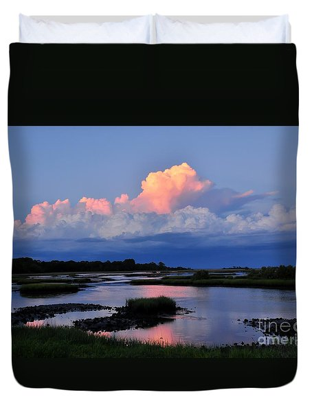 Cedar Key Sunset Duvet Cover by Debbie Green