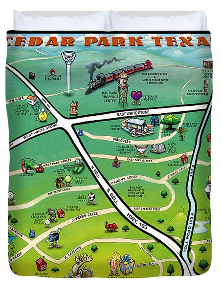 Cedar Park Texas Cartoon Map Duvet Cover by Kevin Middleton
