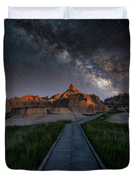 Duvet Cover featuring the photograph Cedar Pass Milky Way by Darren White