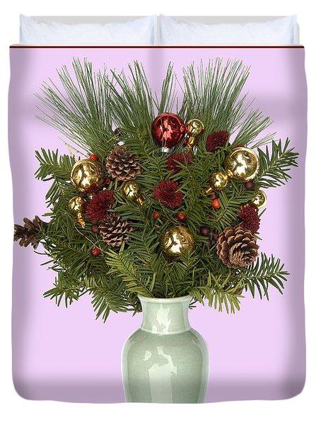 Celadon Vase With Christmas Bouquet Duvet Cover