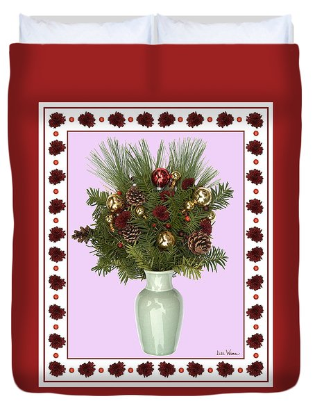 Celadon Vase With Christmas Bouquet Duvet Cover