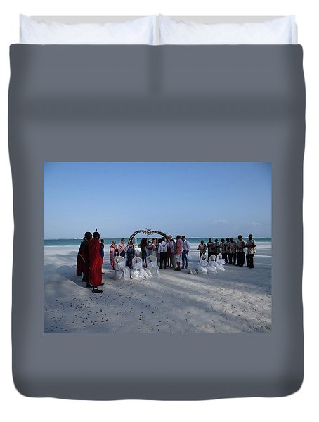 Celebrate Marriage On The Beach Duvet Cover