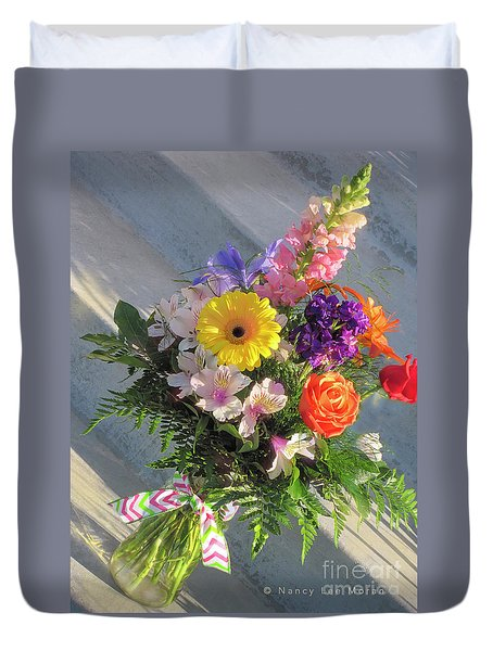 Duvet Cover featuring the photograph Celebrate With A Bright Bouquet by Nancy Lee Moran