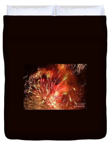 Celebratory Fireworks And Firecrackers Light Up The Sky Duvet Cover