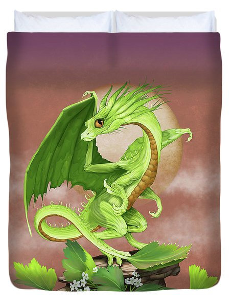 Duvet Cover featuring the digital art Celery Dragon by Stanley Morrison