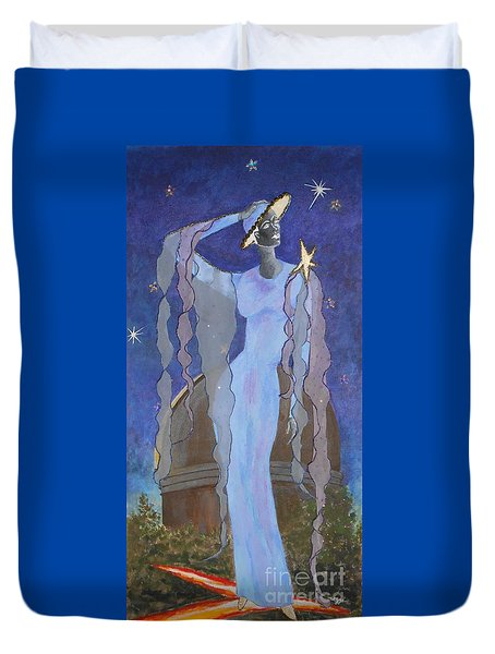 Celestial Bodies -- Fashion Collage Portrait W/ Fabric And Crystals Duvet Cover
