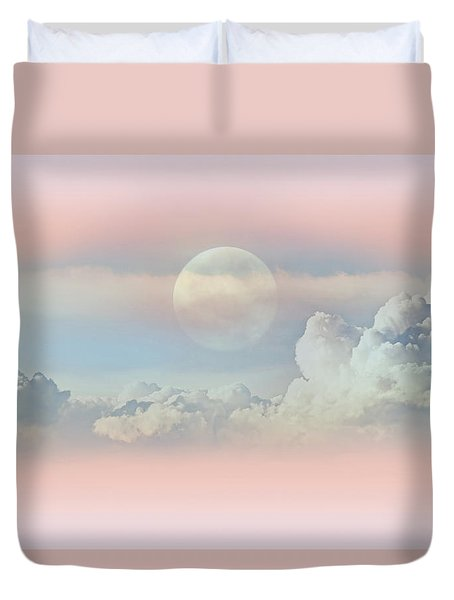 Celestial Clouds And Moon Duvet Cover